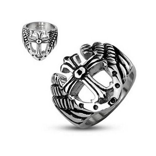 Jewelry Trends Stainless Steel Cross with Shield and Wings Wide Band Ring Whole Sizes 9 - 14 - 9