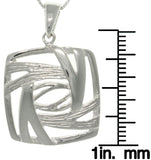 Jewelry Trends Sterling Silver Stylized Square Necklace