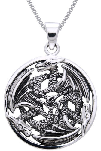 Jewelry Trends Sterling Silver Triple Trinity Dragon Circle Pendant on 18 Inch Box Chain Necklace