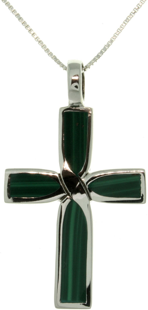 Jewelry Trends Sterling Silver Cross Pendant with Green Created Malachite Stone on 18 Inch Box Chain Necklace