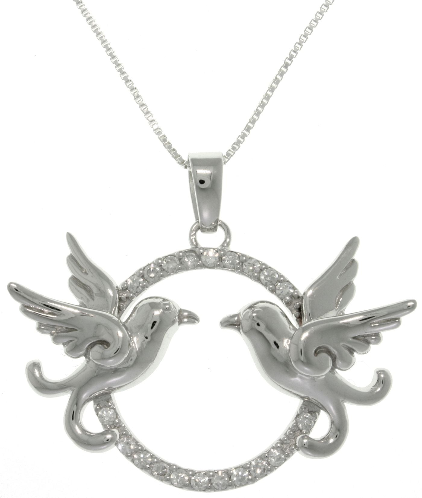 Jewelry Trends Sterling Silver Love Birds Dove Round Pave CZ Pendant with Box Chain Necklace Birthday Gift