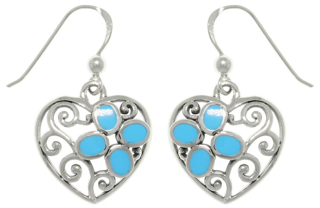 Jewelry Trends Sterling Silver Filigree Heart with Created Turquoise Dangle Earrings