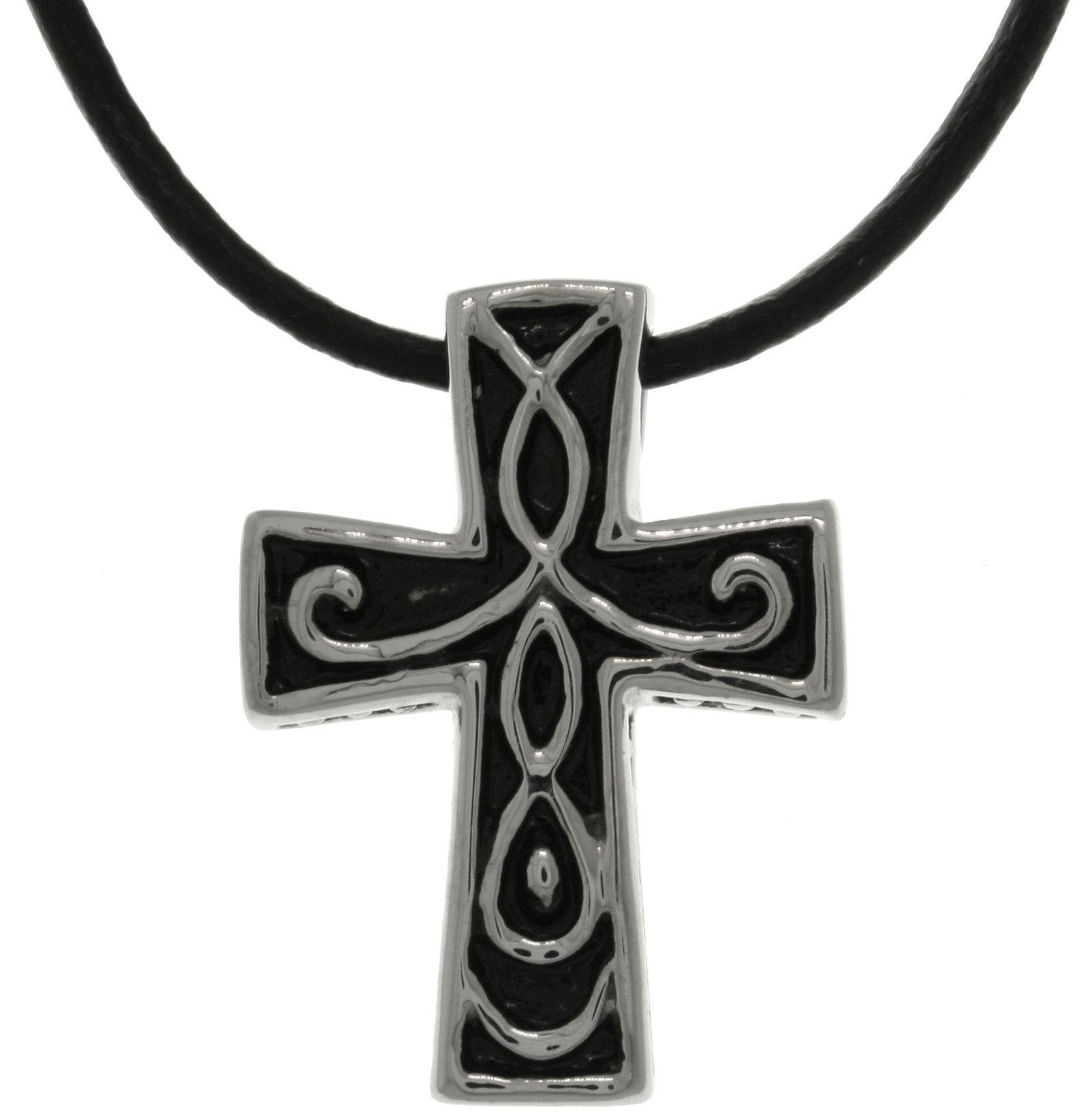 fabuleux collections necklace ccross fashion blk lacey cross fv celtic black jewellery products rg