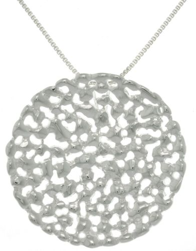 Jewelry Trends Sterling Silver Large Textured Modern Round Pendant on 18 Inch Chain Necklace