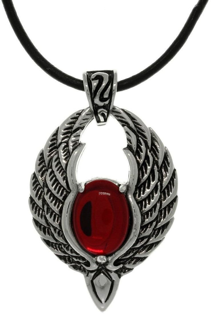 Jewelry Trends Stainless Steel Winged Phoenix with Red Glass Orb Pendant on 18 Inch Black Leather Cord Necklace