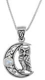 Jewelry Trends Sterling Silver Celtic Crescent Moon and Owl Pendant with Rainbow Moonstone on 18 Inch Chain Necklace
