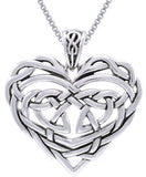 Jewelry Trends Sterling Silver Celtic Lace Heart Pendant on 18 Inch Box Chain Necklace