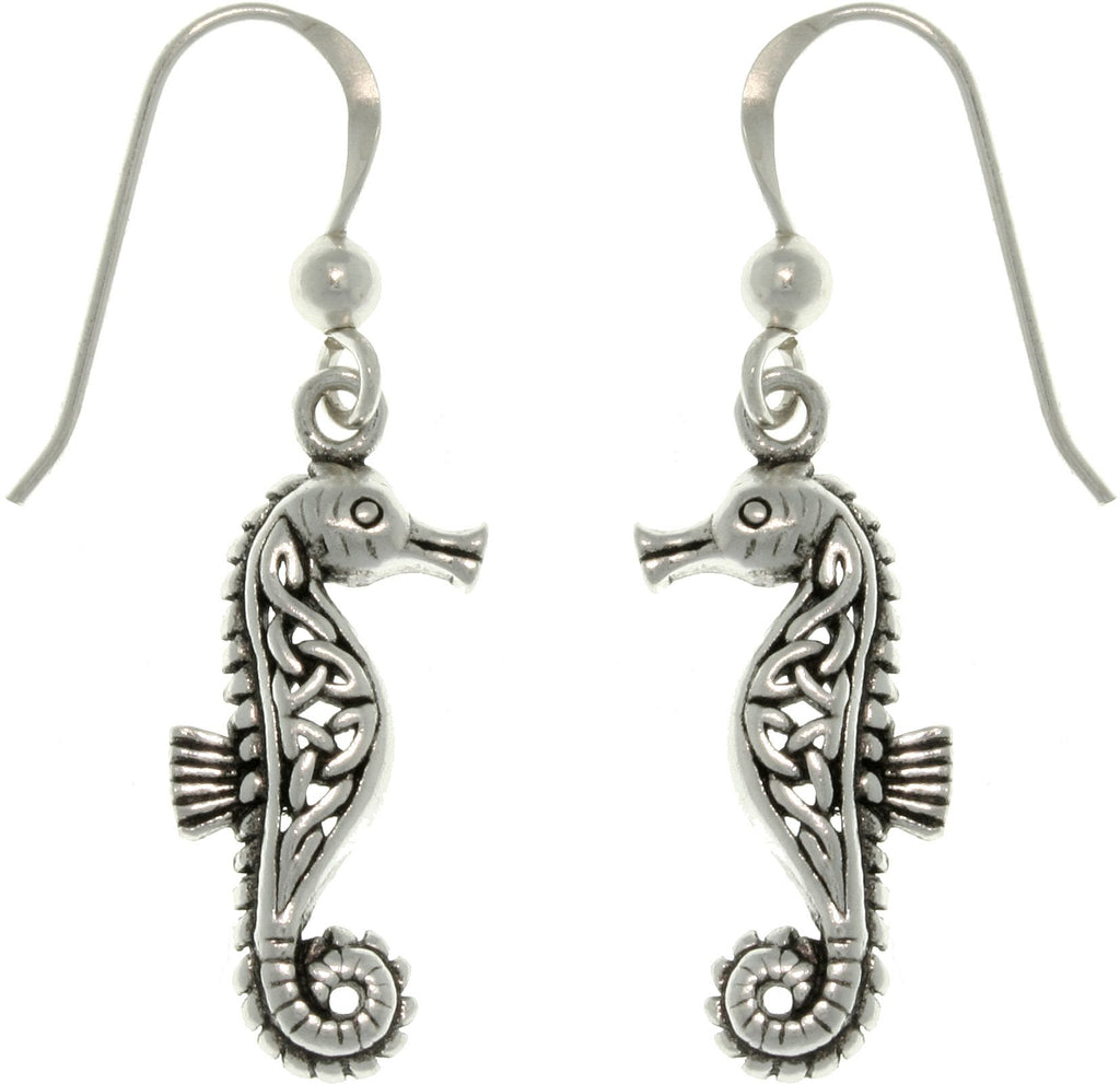 Jewelry Trends Sterling Silver Celtic Knot Seahorse Dangle Earrings