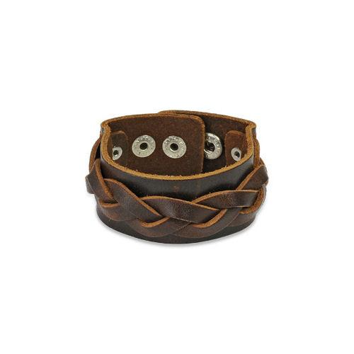 Jewelry Trends Brown Genuine Leather Bracelet with Braided Center Strap and Adjustable Snaps