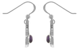 Jewelry Trends Sterling Silver Crescent Moon Dangle Earrings with Celtic Knot Work and Purple Amethyst Stones