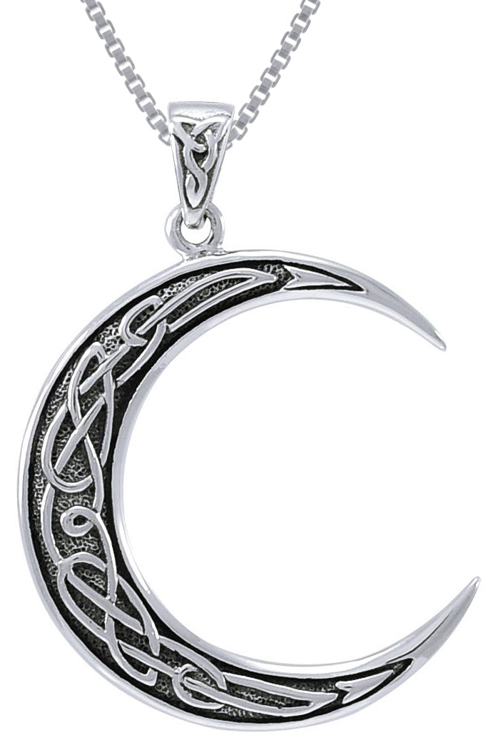 Jewelry Trends Sterling Silver Magical Celtic Crescent Moon Pendant on 18 Inch Box Chain Necklace