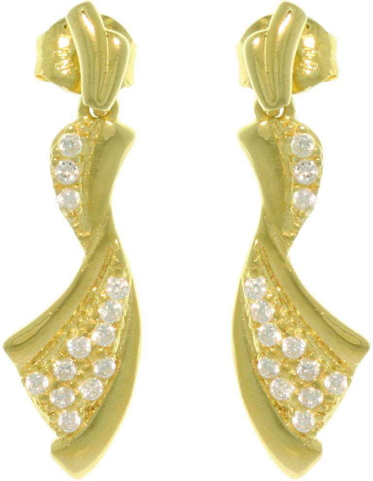Jewelry Trends Sterling Silver 14k Gold Vermeil Pave Cubic Zirconia Ribbon Dangle Earrings