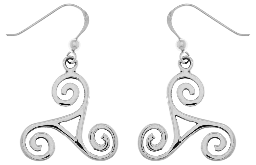 Jewelry Trends Sterling Silver Celtic Spiral Triskele Knot Dangle Earrings