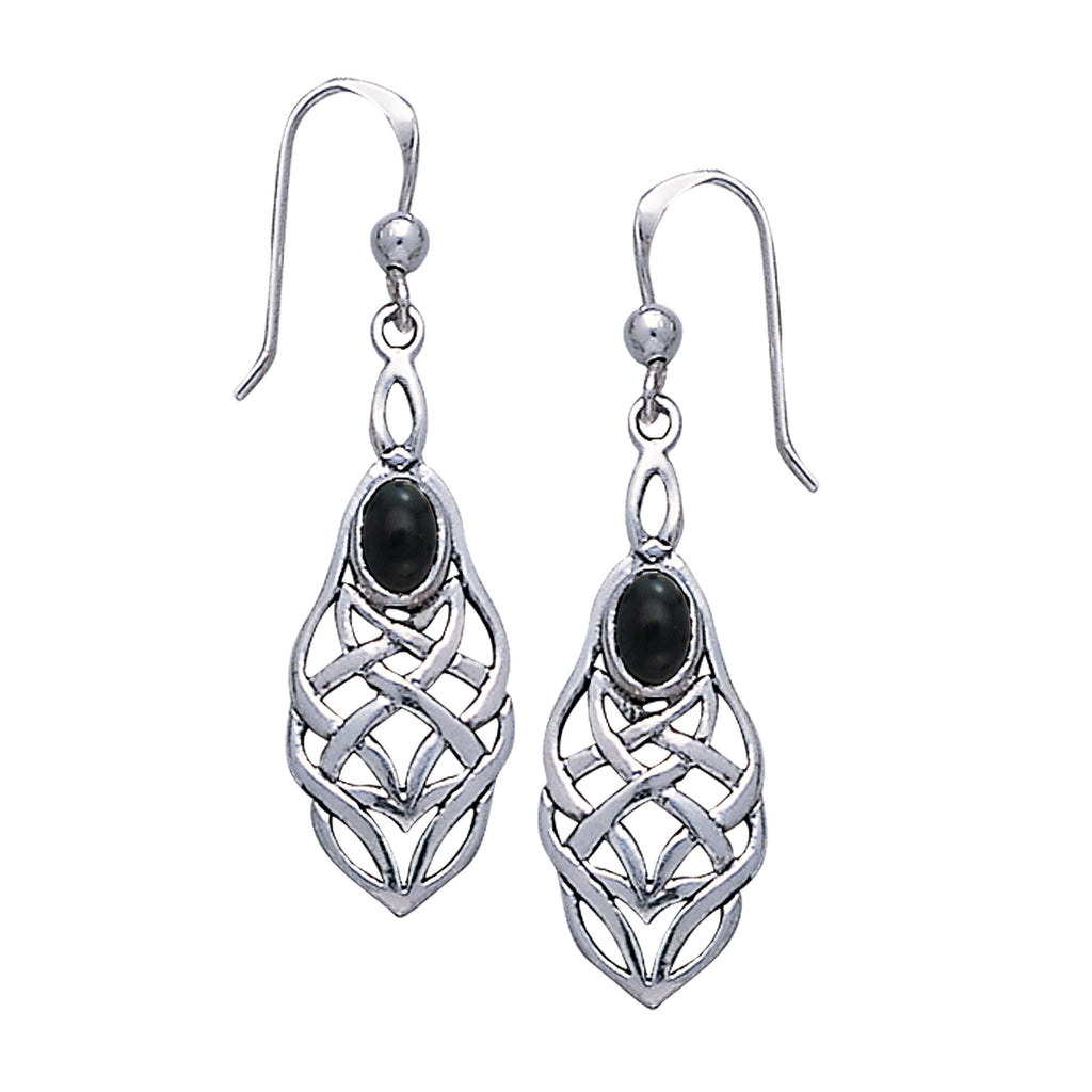 Jewelry Trends Sterling Silver and Black Onyx Celtic Knotwork Dangle Earrings