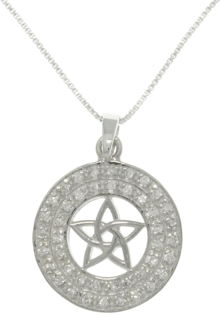 Jewelry Trends Sterling Silver Cubic Zirconia Crystal Star Pendant with 18 Inch Box Chain Necklace