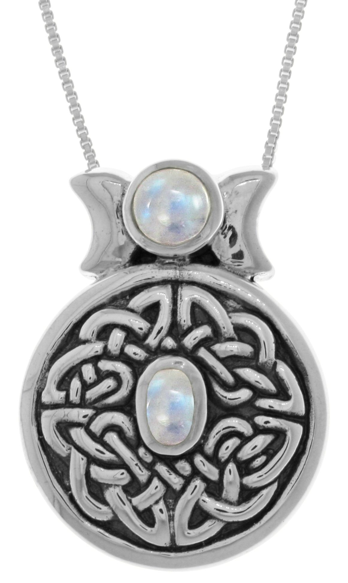 Jewelry trends sterling silver round celtic moon goddess pendant jewelry trends sterling silver round celtic moon goddess pendant with moonstone on 18 inch box chain necklace aloadofball Image collections