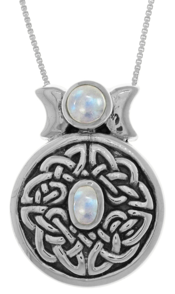 Jewelry Trends Sterling Silver Round Celtic Moon Goddess Pendant with Moonstone on 18 Inch Box Chain Necklace