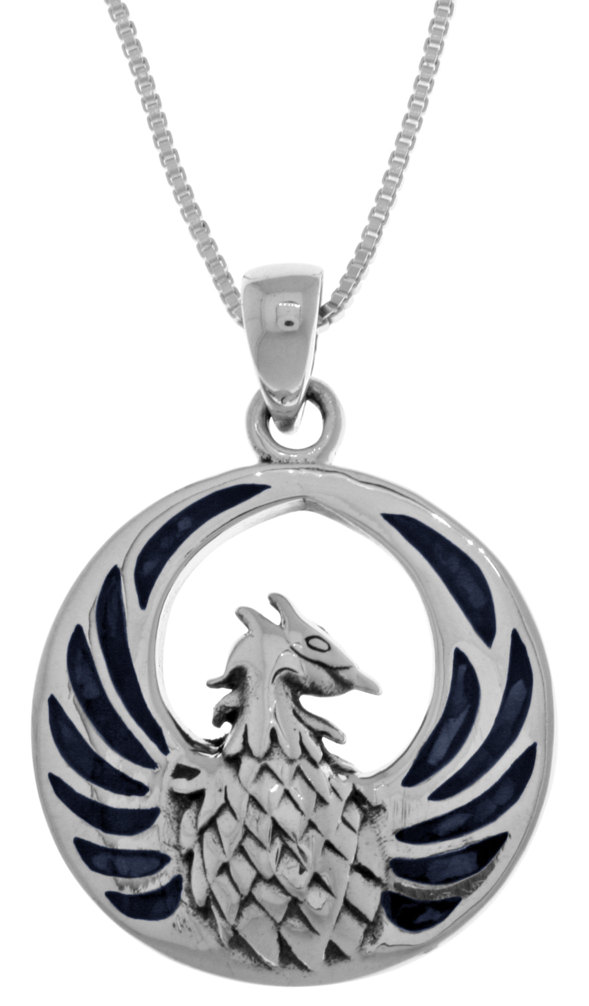 Jewelry Trends Sterling Silver Phoenix Fire Bird Pendant with Blue Paua Shell on 18 Inch Box Chain Necklace