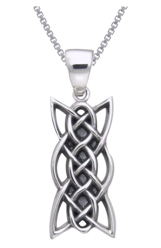 Jewelry Trends Sterling Silver Celtic Knotwork Linear Pendant on 18 Inch Box Chain Necklace
