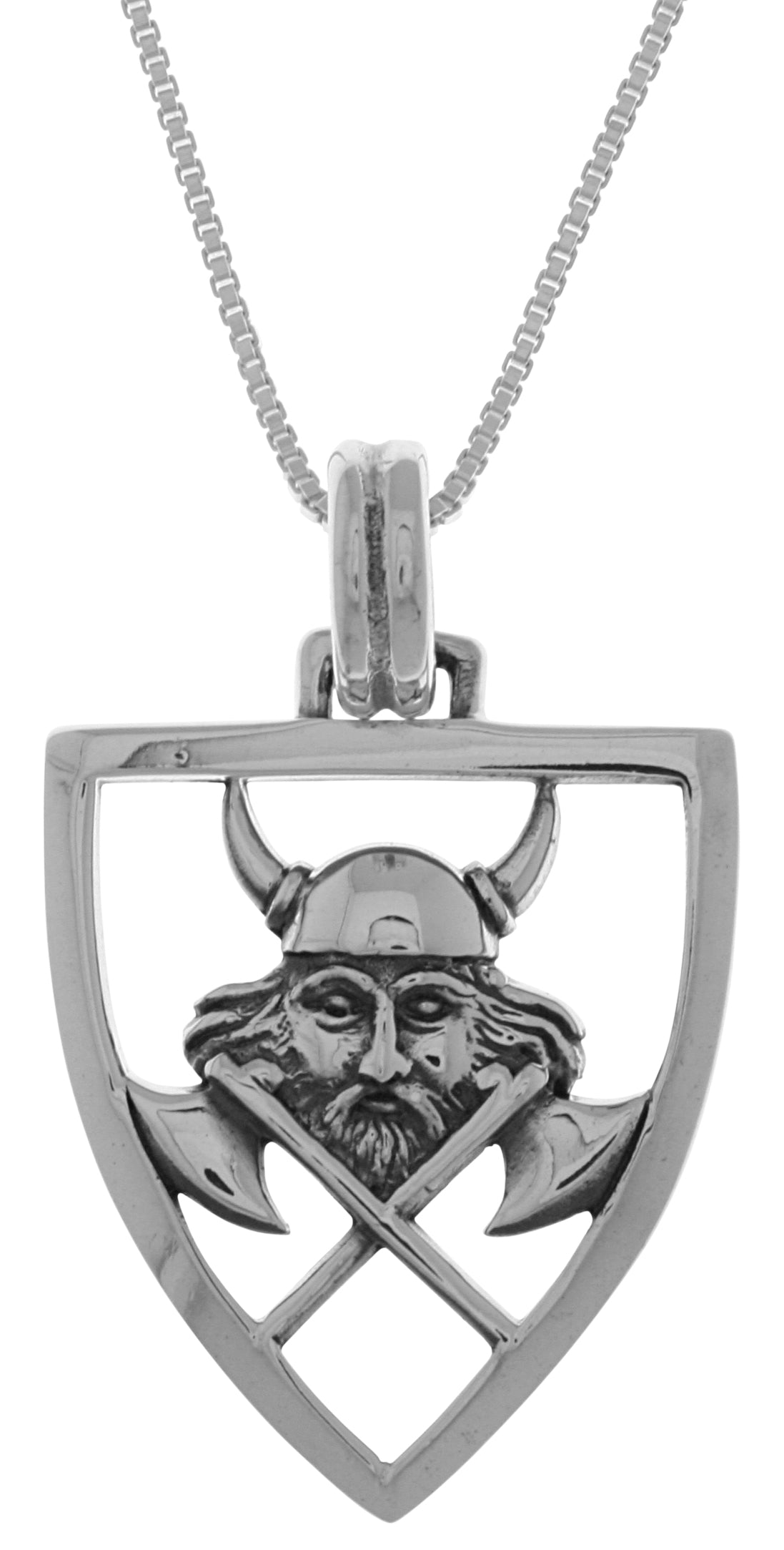 Jewelry Trends Sterling Silver Viking Warrior Battle Axe Shield Pendant on 18 Inch Box Chain Necklace