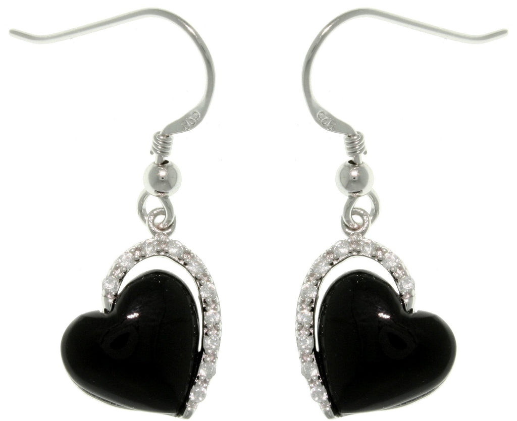 Jewelry Trends Sterling Silver Black Enamel Cubic Zirconia Heart Dangle Earrings