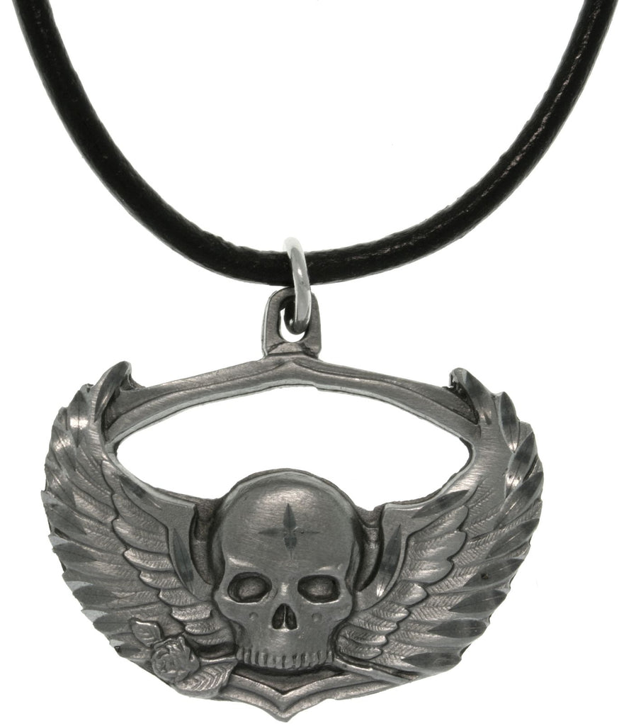 Jewelry Trends Pewter Winged Skull with Rose Biker Gothic Pendant on Black Leather Cord Necklace