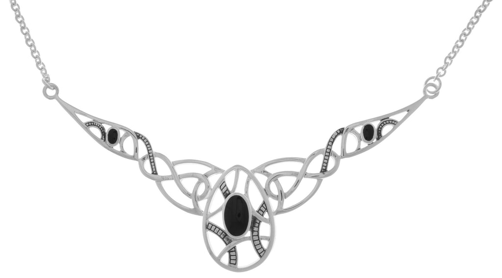 Jewelry Trends Silver Plated Bronze Large Celtic Knotwork Pendant with Black Onyx on Link Chain Necklace