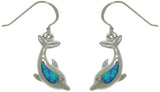 Jewelry Trends Sterling Silver Created Blue Opal and Clear Cubic Zirconia Sea Dolphin Earrings