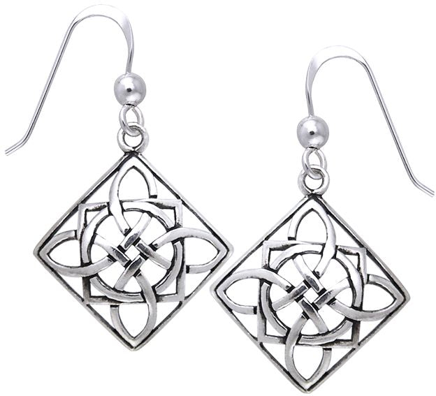 Jewelry Trends Sterling Silver Celtic Square Power Shield Knot Dangle Earrings Jewelry