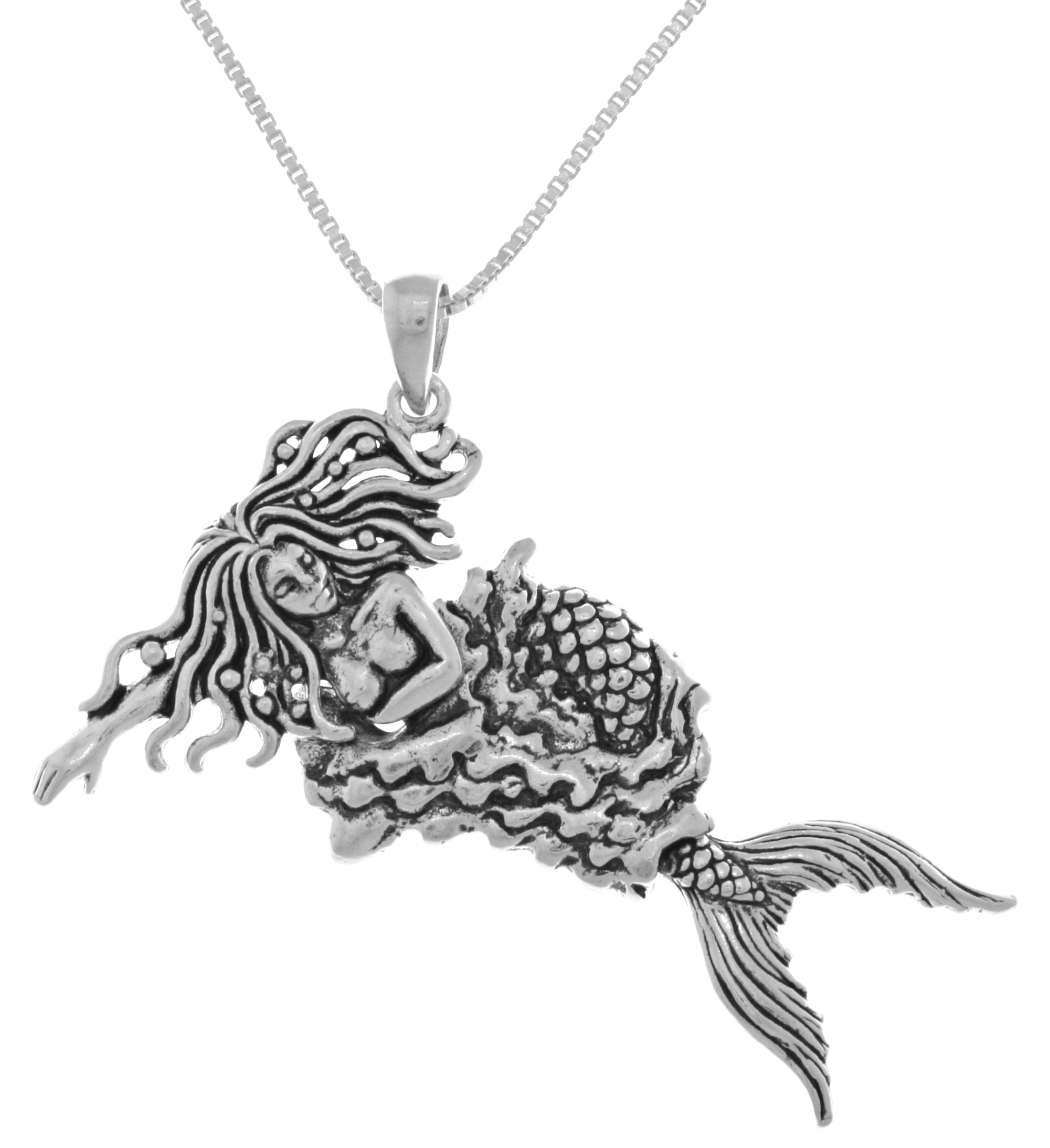 Jewelry Trends Sterling Silver Moveable Swimming Mermaid Pendant on 18 Inch Box Chain Necklace