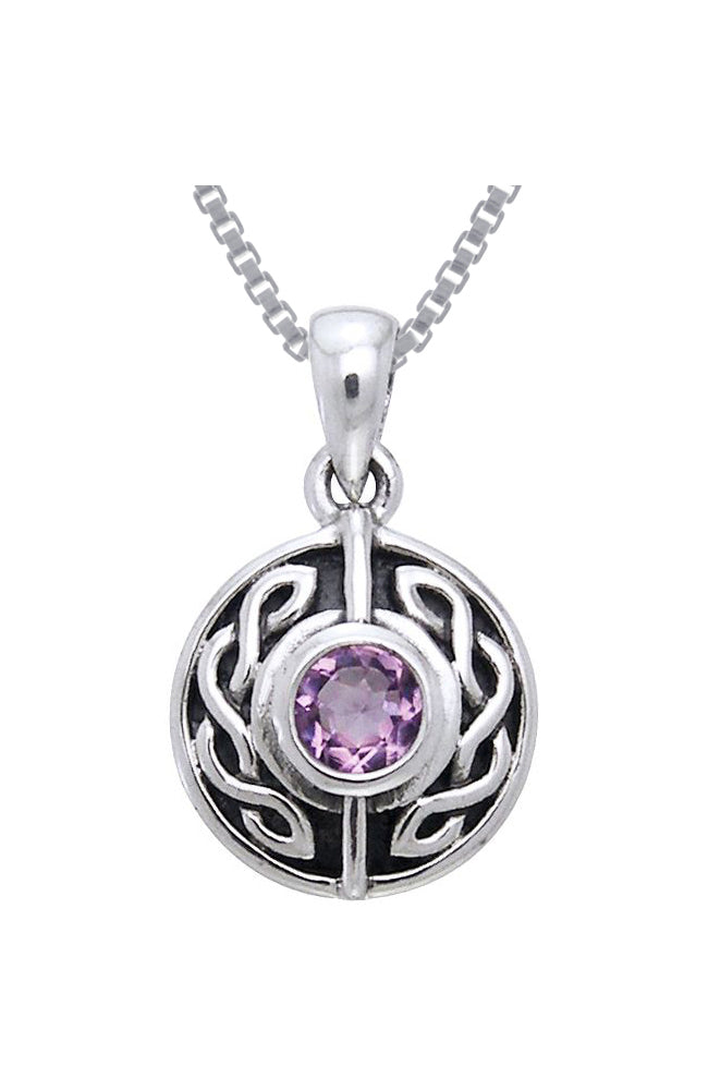 Sterling Silver and Amethyst Celtic Pendant Necklace With 18