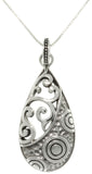 Jewelry Trends Sterling Silver Mixed Texture Teardrop Pendant With 18 Inch Chain Necklace