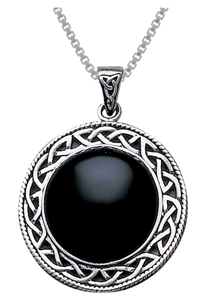 Jewelry Trends Celtic Knot Framed Black Onyx Cabochon Sterling Silver Pendant Necklace 18""