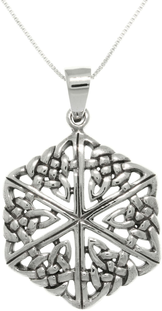 Jewelry Trends Sterling Silver Celtic Knot Hexagon Pendant With 18 Inch Chain Necklace