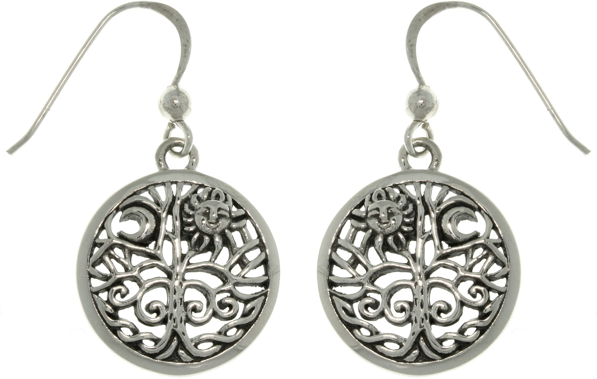 Jewelry Trends Sterling Silver Celtic Moon and Sun Tree of Life Round Filigree Dangle Earrings