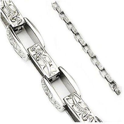 Jewelry Trends 316L Stainless Steel Arrow and Dagger Box Link Bracelet