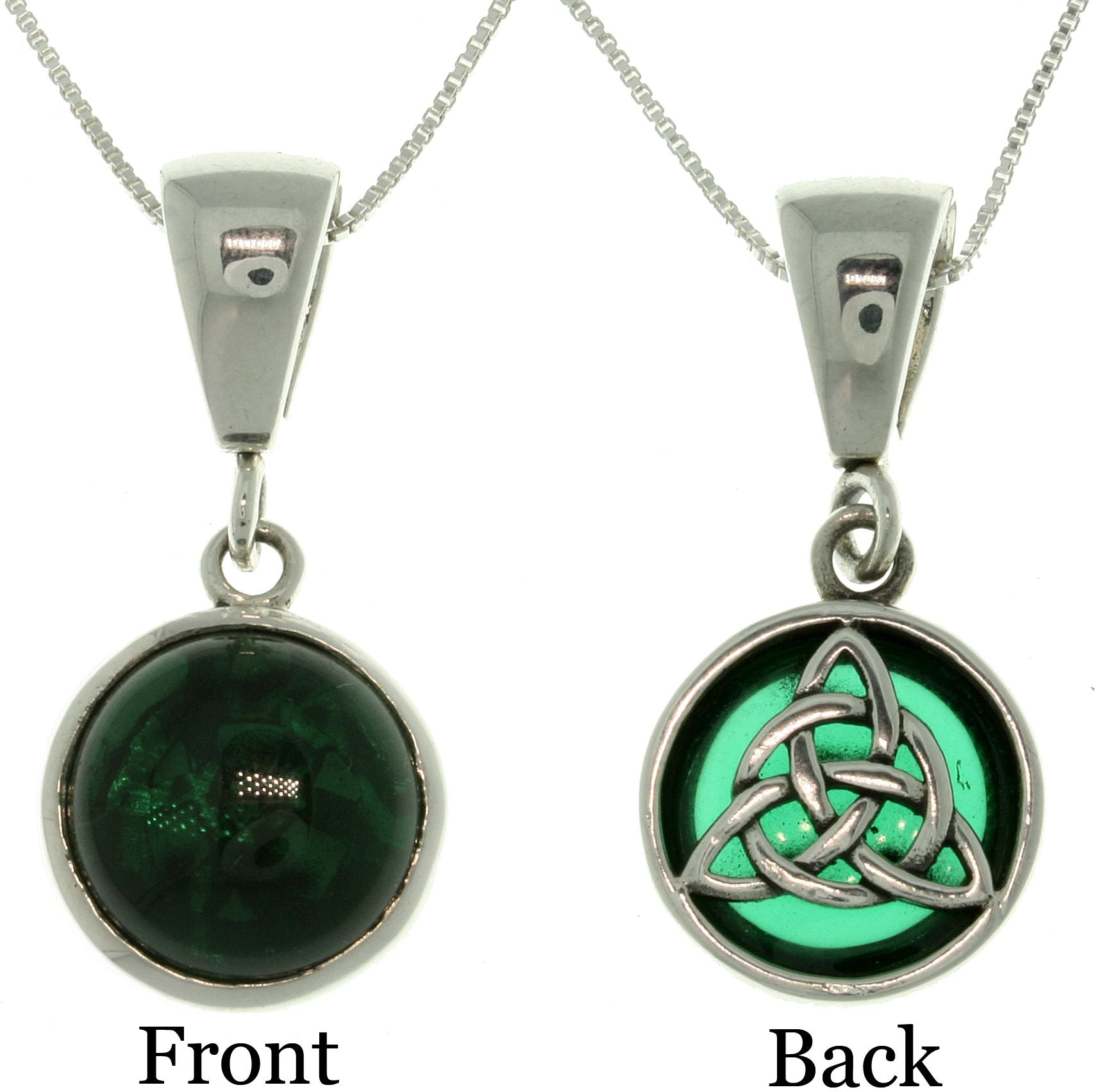 Jewelry Trends Sterling Silver Celtic Knot Green Glass Reversible Pendant with 18 Inch Box Chain Necklace