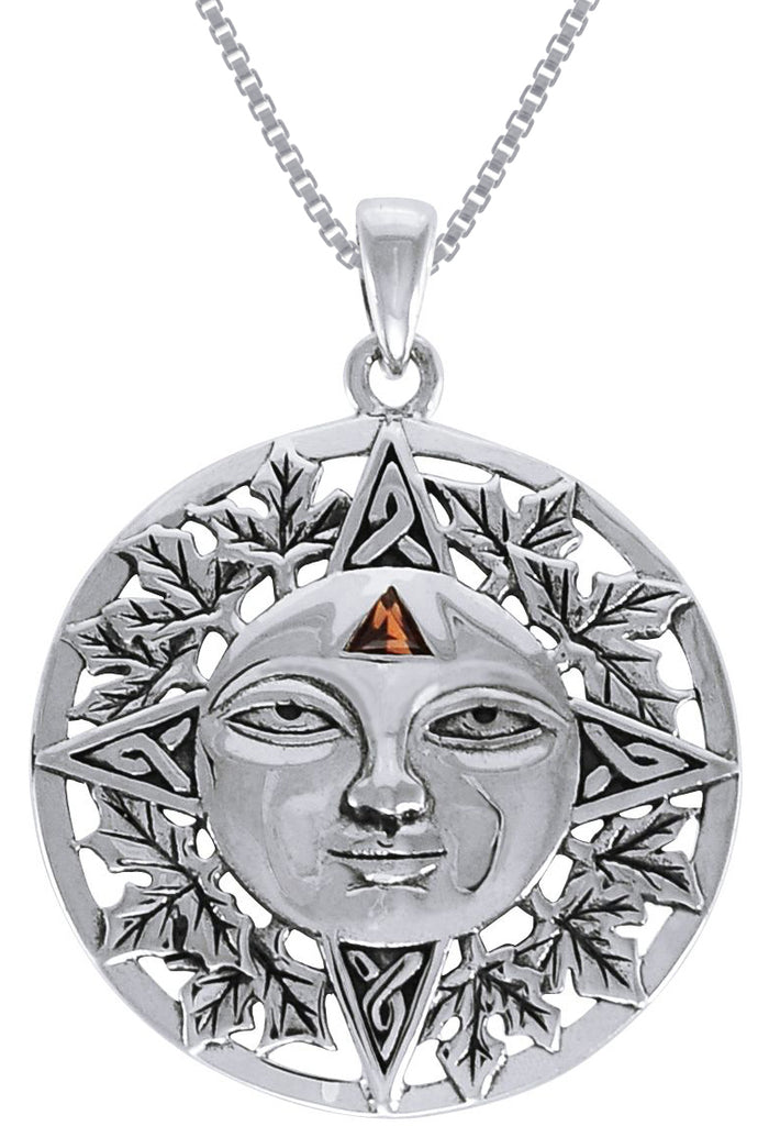Jewelry Trends Sterling Silver Autumn Sun Face Celtic Mediallion Pendant with Garnet on 18 Inch Box Chain Necklace