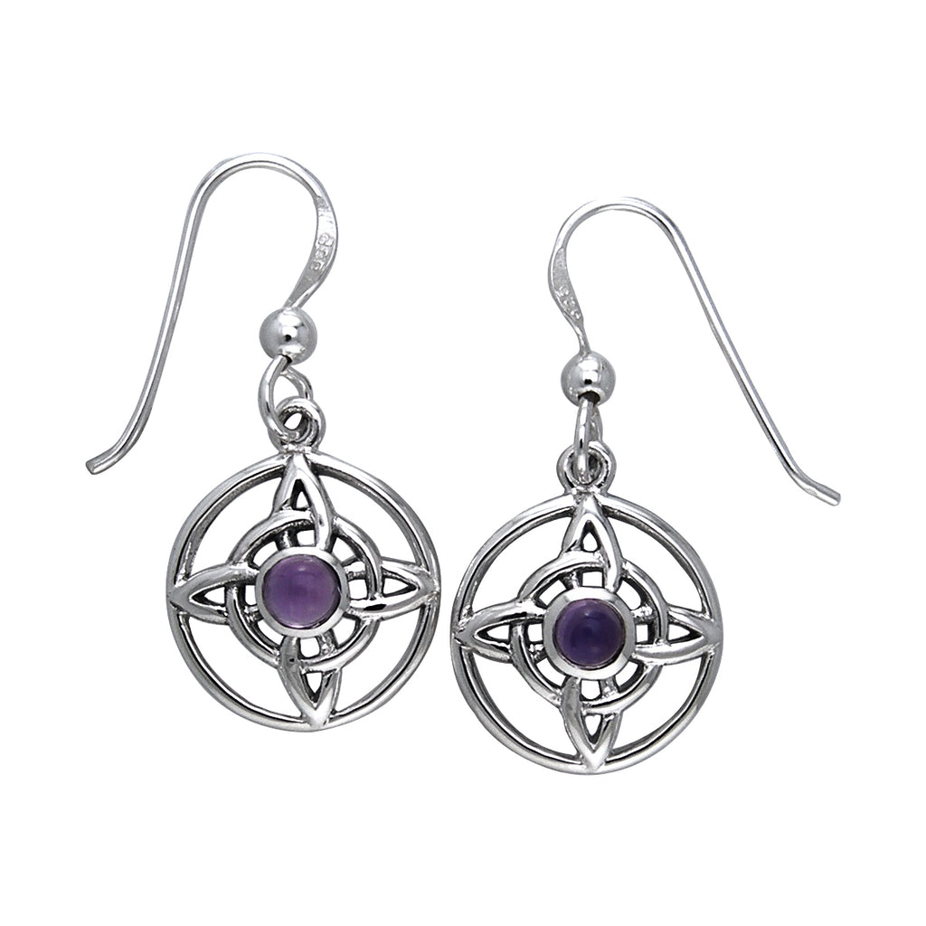 Jewelry Trends Sterling Silver Celtic Quaternary Knot Dangle Earrings with Purple Amethyst Stones