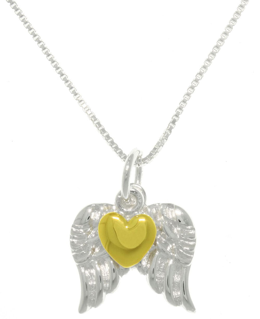 Jewelry Trends Sterling Silver Angel Wings Pendant with Gold-plated Heart on Box Chain Necklace