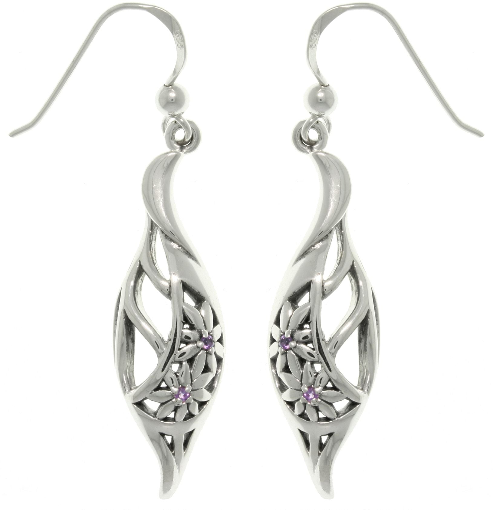 Jewelry Trends Sterling Silver Elegant Flowers with Amethyst Gemstones Dangle Earrings