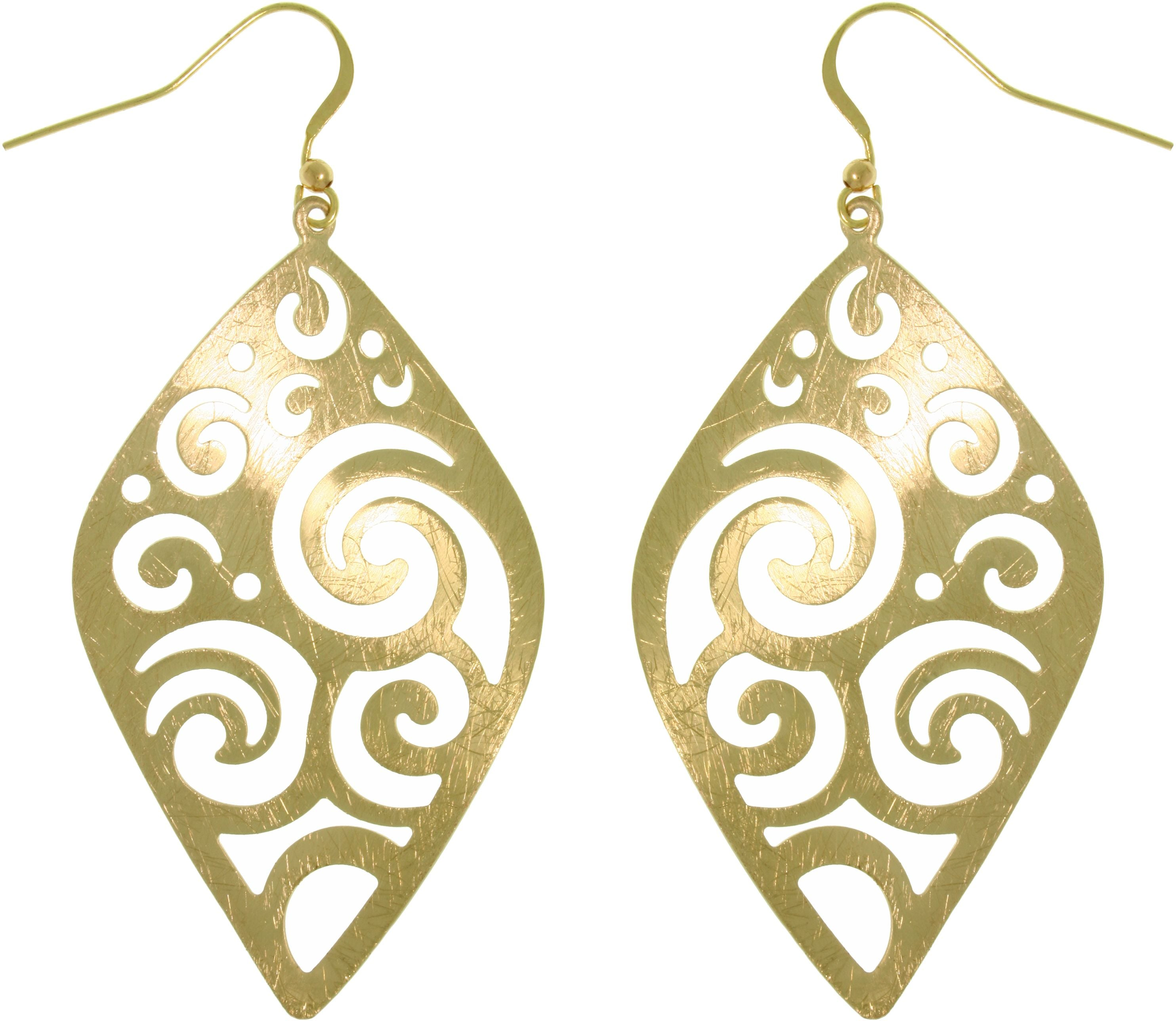 Jewelry Trends Goldtone Brass Weightless Large Diamond Shaped Wavy Filigree Swirl Dangle Earrings Fashion Jewelry