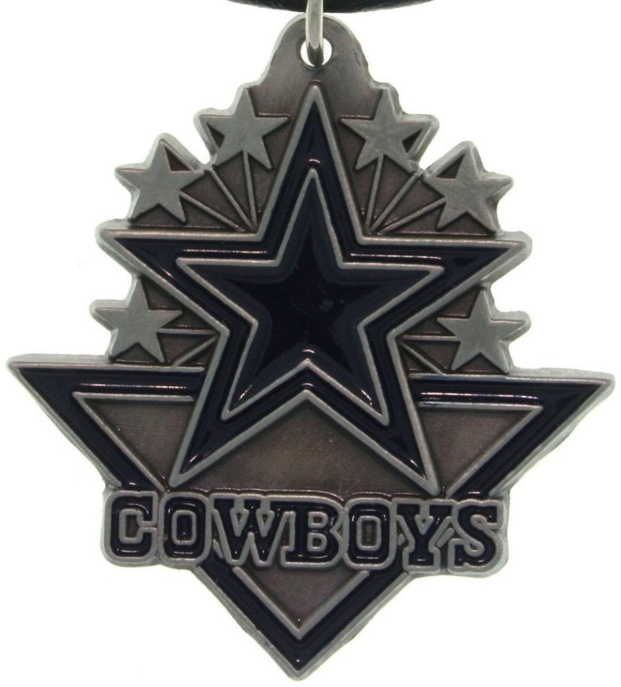Jewelry Trends Pewter Dallas Cowboys NFL Pennant Pendant on Black Leather Necklace
