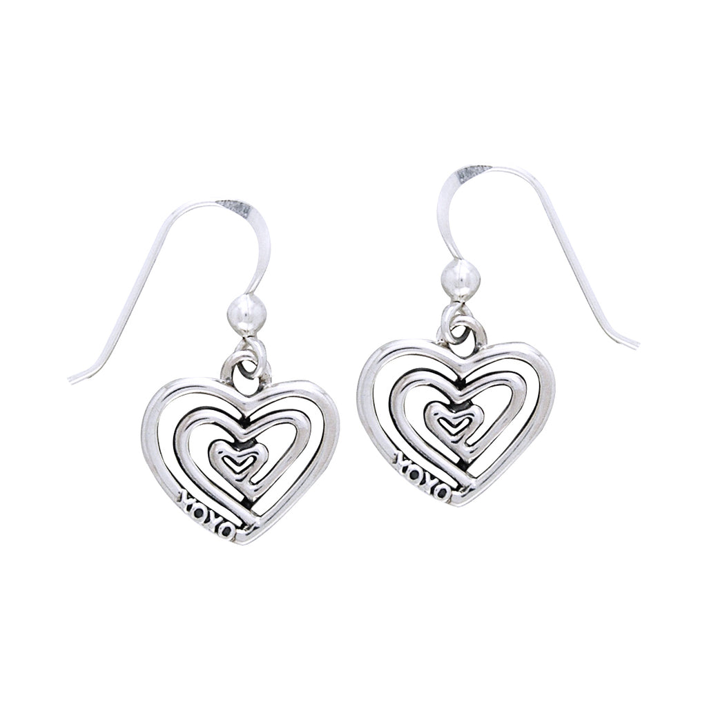 Jewelry Trends Sterling Silver Triple Spiral Heart Love XOXO Dangle Earrings