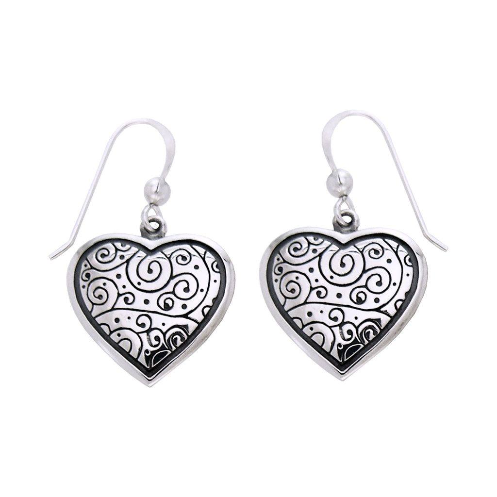 Jewelry Trends Sterling Silver Celtic Spiral Heart Dangle Earrings