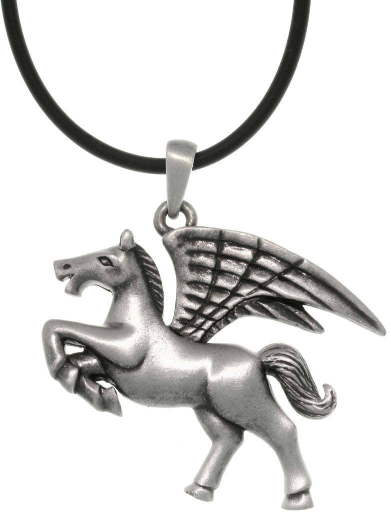 Jewelry Trends Pewter Winged Pegasus Horse Pendant on Black Cord Necklace