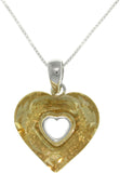 Jewelry Trends Sterling Silver Yellow-gold Glass Heart Pendant Necklace