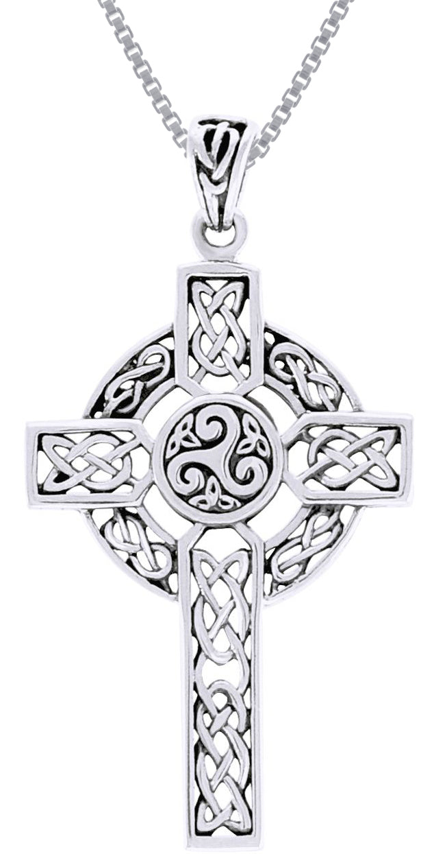 Jewelry Trends Sterling Silver Celtic Trinity Knot Cross Pendant on Box Chain Necklace