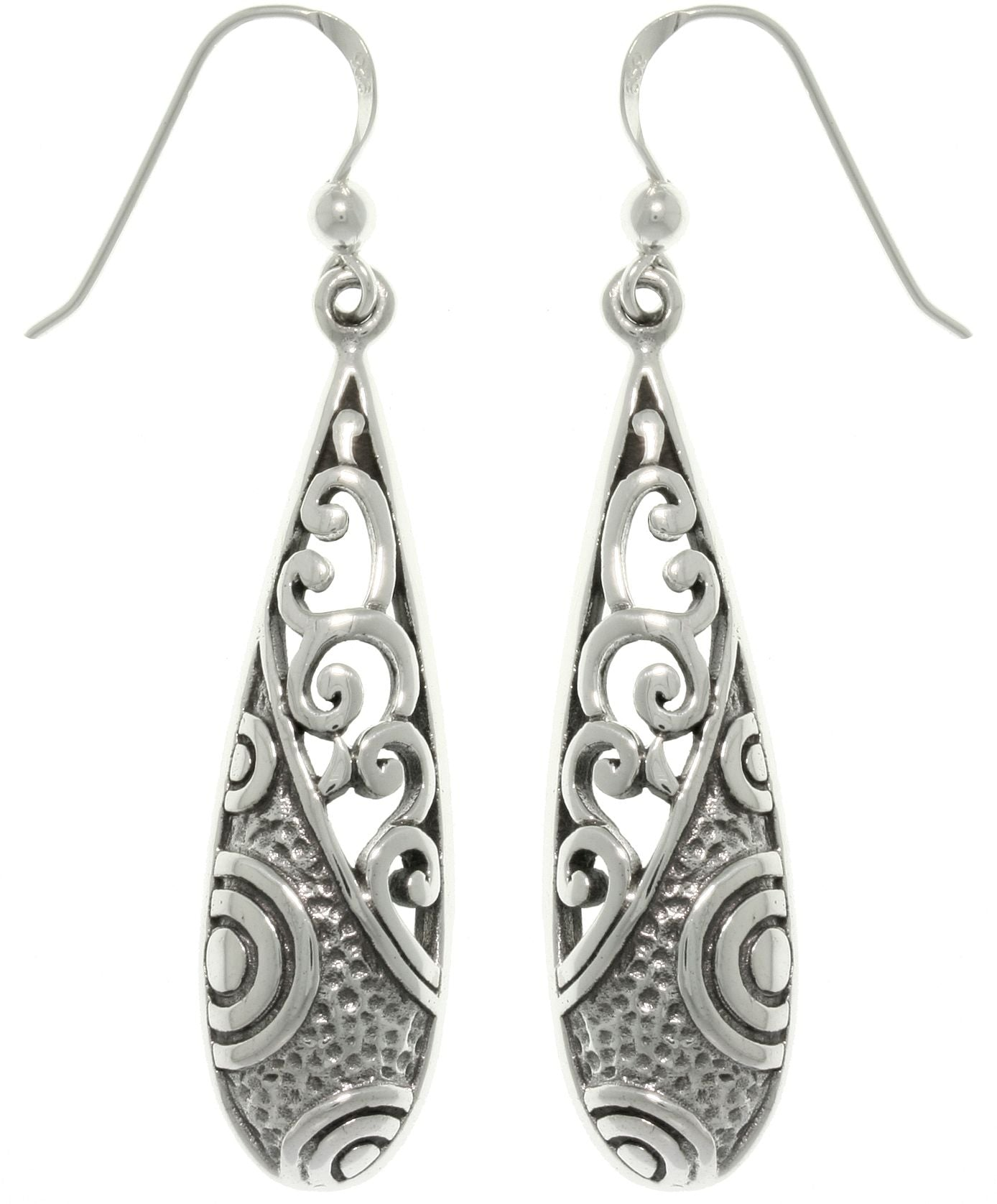 Jewelry Trends Sterling Silver Mixed Texture Long Dangle Earrings