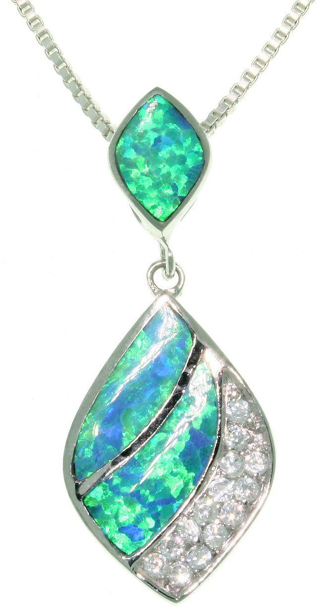 Jewelry Trends Sterling Silver Created Blue Opal and Clear CZ Teardrop Dangle Pendant with 18 Inch Box Chain Necklace